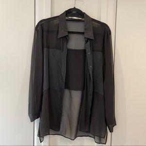 Zara Sheer + Satin Black Long Sleeve Button Up